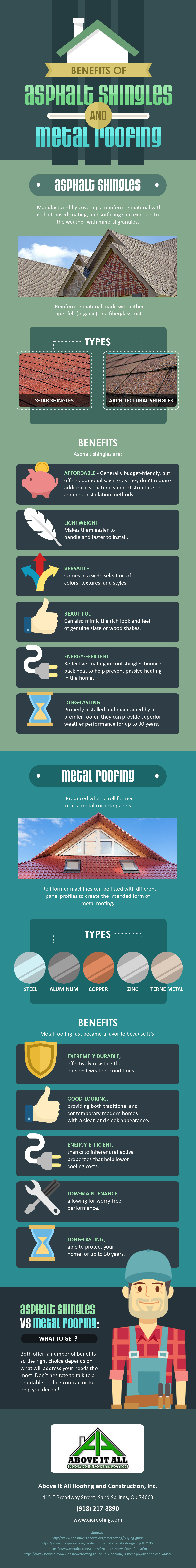 Infographics Benefits Of Asphalt Shingles And Metal Roofing